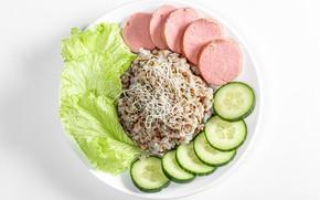 Picture photo, Plate, Food, Cucumbers, Sausage, Porridge