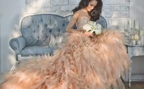 Picture girl, flowers, style, model, bouquet, makeup, dress, Korobkova Nadezda