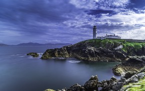 Picture sea, clouds, landscape, rocks, lighthouse, Ireland, Donegal, Fanad Head Lighthouse, County Donegal