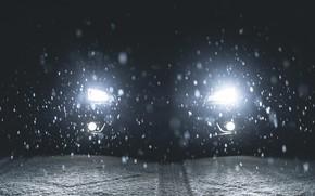 Picture Subaru, Impreza, WRX, Light, Winter, STI, Front, Sight, Snowflakes