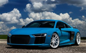 Picture Audi, Audi R8, tuning, supercars, german cars, 2018 cars, blue R8, the color of the …