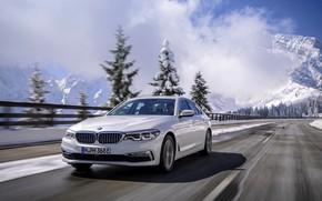 Picture road, white, mountains, movement, BMW, sedan, hybrid, 5, four-door, 2017, 5-series, G30, 530e iPerformance