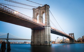 Picture water, bridge, the city, lights, Brooklyn, Brooklyn bridge, Brooklyn, Brooklyn Bridge
