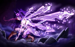 Picture clouds, magic, zipper, magic, lightning, clouds, anime art, Honkai Impact, Raiden Mei, 3rd