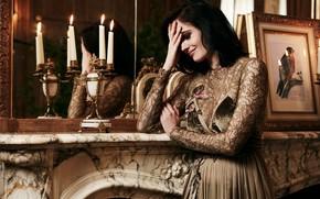 Picture girl, pose, model, candles, dress, mirror, brunette, Eva Green