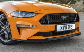 Picture orange, Ford, 2018, the front part, fastback, Mustang GT 5.0