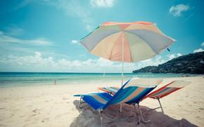 Picture sand, sea, wave, beach, summer, chaise, summer, beach, sea, blue, seascape, sand, wave