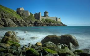 Picture sea, landscape, nature, Strait, stones, castle, rocks, France, fortress, The Channel, Brittany, Fort La Latte, …