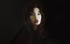 Picture Girl, Minimalism, Figure, Look, Lips, Style, Face, Girl, Background, Brunette, Art, Beautiful, Art, Brunette, Beauty, …