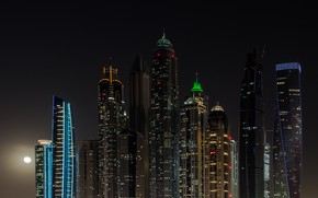 Picture Night, The city, The moon, House, Building, City, House, Moon, Dubai, Architecture, Dubai, Night, Skyscraper, …