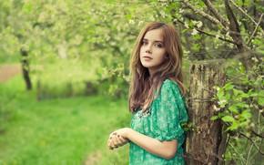 Picture look, girl, nature, pose, photo, spring, garden, bokeh