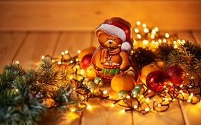Picture holiday, toy, new year, bear, figure, decor, Garland