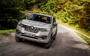 Picture forest, turn, Renault, pickup, 4x4, 2017, Alaskan, gray-silver