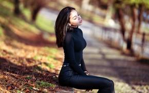 Picture autumn, girl, the sun, nature, pose, Park, figure, bokeh, Marco Squassina