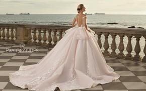 Picture sea, girl, pose, model, back, train, dress, beautiful, Tatiana Kizeeva