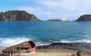Picture sea, shore, boat, yacht, catch