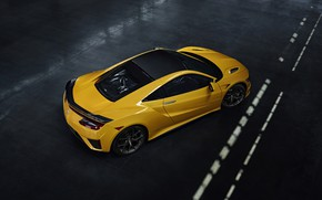 Picture yellow, coupe, top, Honda, Acura, NSX, 2020