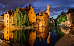Picture trees, night, the city, reflection, building, home, lighting, channel, Belgium, Bruges