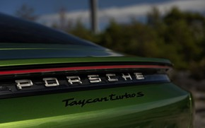 Picture the inscription, strip, Porsche, feed, Turbo S, 2020, Taycan