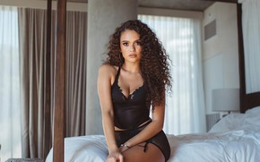 Picture look, girl, pose, model, hair, bed, brunette, beauty, Madison Pettis