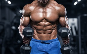 Picture power, muscles, strength, dumbbell, bodybuilder
