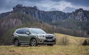 Picture mountains, Subaru, meadow, crossover, Forester, 2019