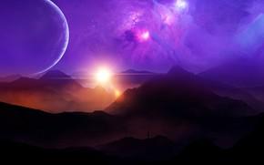 Picture space, sky, landscape, sunset, nebula, mountains, clouds, stars, man, planets, purple, sunrays, univerce