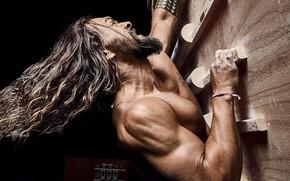 Picture actor, long hair, Jason Momoa, Jason Momoa, climbs up, muscle