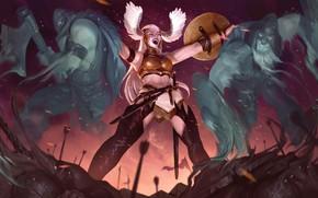 Picture Girl, Armor, Girl, Warrior, Fantasy, Warriors, Art, Art, Warrior, Fiction, Soul, Sword, Armor, Knife, Valkyrie, …