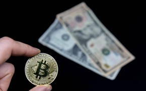 Picture Black background, USA, Bills, Money, Dollar, Dollars, Fingers, Money, Coin, Bitcoin, Crypto, Биткойн