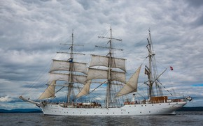 Picture Ship, Clouds, Sailboat, The ship, Sails, Overcast, Christian Radich, Training Ship, by Inge Wallumrød, Inge …