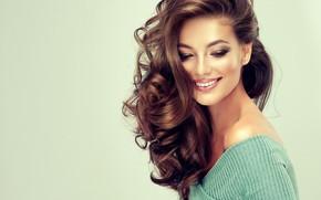 Picture girl, smile, model, makeup, brown hair, curls, edwardderule
