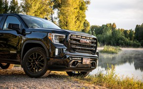Picture black, pickup, 2018, the front part, GMC, Sierra, Crew Cab, 2019, Elevation