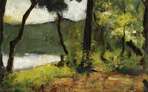 Picture landscape, picture, Lake in Brandenburg, Lesser URY, Lesser Ury, 1910-20