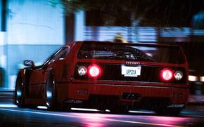 Picture Auto, Machine, Rain, Ferrari, F40, Rendering, Ferrari F40, Ferrari F-40, F-40, Saharat Ounaim, UP2U, F40 …