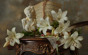 Picture flowers, style, notes, pen, Lily, sculpture, white, still life, ink, Andrey Morozov