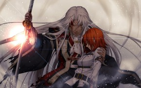 Picture girl, anger, Shine, sword, anime, art, guy, two, Fate Grand order
