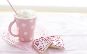 Picture love, circles, pink, pattern, heart, cream, mug, tube, love, heart, pink, beautiful, background, cup, chocolate, …