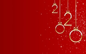 Picture red, background, New year, Christmas, New Year, bows, 2020