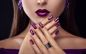 Picture girl, face, style, hands, lipstick, ring, lips, manicure, Nedopekin Yuriy