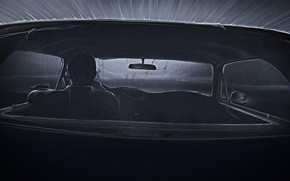 Picture Mustang, Ford, Auto, Figure, Machine, Salon, Driver, Art, Night, Illustration, Concept Art, Black and white, …