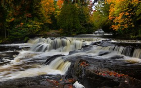 Wallpaper autumn, forest, river, waterfall, Michigan, cascade, Michigan, Bond Falls, Ontonagon River, The River Ontonagon, Waterfalls ...