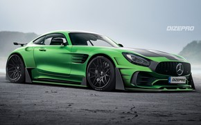 Picture MB AMG GT, Green, Sports car, Machine, Dmitry Strukov, Auto, AMG, Rendering, Supercar, Mercedes-AMG GT, …