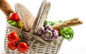 Picture basket, bread, vegetables, tomatoes