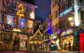 Picture night, lights, France, Christmas, Colmar