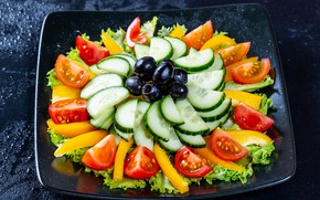Picture plate, vegetables, tomatoes, olives