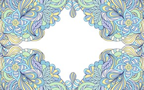 Picture white, abstraction, background, pattern, frame, Paisley