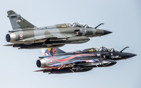 Picture Fighter, Pair, Mirage 2000, The French air force, Air force, Dassault Mirage 2000