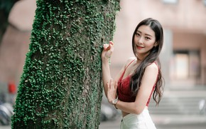 Picture girl, pose, smile, hair, Asian, cutie