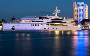Picture sea, night, the city, yacht